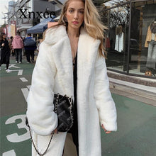 Load image into Gallery viewer, White Faux Fur Teddy Bear Coat Women Fluffy Winter Jacket Oversized Long Shaggy Cardigan Warm Trench Coats long coat warm