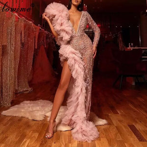 Luxury Dubai Beading Celebrity Dresses Long Sleeves One Shoulder Evening Dresses Deep V-Neck Sexy Prom Dresses Party Women Robes