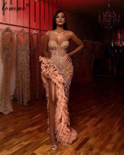 Load image into Gallery viewer, Luxury Dubai Beading Celebrity Dresses Long Sleeves One Shoulder Evening Dresses Deep V-Neck Sexy Prom Dresses Party Women Robes