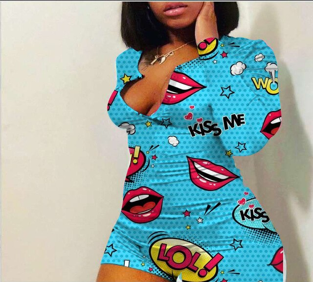 Rompers Women Sleepwear Lip Print Long Sleeve Shorts Jumpsuit Sexy 2020 Romper and Jumpsuit For Women Nightwear Pajama Playsuit