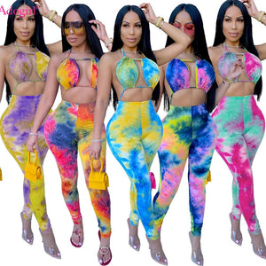 Adogirl Sexy Tie Dye Print Halter Jumpsuit Bra Crop Backless Lace Up Top Long Pants Romper Fashion Night Club Overall Onesies