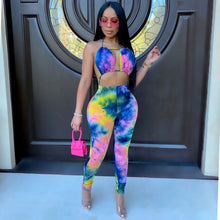 Load image into Gallery viewer, Adogirl Sexy Tie Dye Print Halter Jumpsuit Bra Crop Backless Lace Up Top Long Pants Romper Fashion Night Club Overall Onesies
