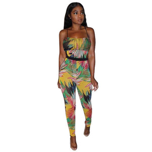 Adogirl Leaf Print Spaghetti Straps Jumpsuit Women Sexy Sleeveless Backless Waist down Romper Summer Casual Fashion Overalls New