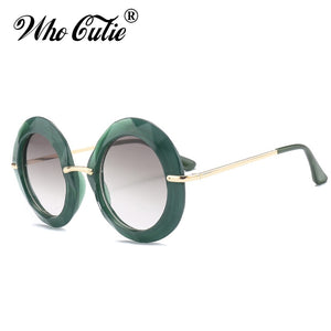 WHO CUTIE 2019 Oversized Round Sunglasses Women Luxury Brand Designer Vintage Retro Green Frame Female Sun Glasses Shades OM567