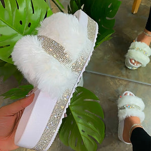 Women Fur Platform Slippers Summer Furry Slides Female Fluffy  Shoes Women's Bling Fuzzy Slide Large Size Wholesale Dropshipping