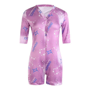 zodiac Summer Playsuit Pajama Romper Women's Lady Sexy Romper Bodycon Casual Jumpsuit Romper Shorts Leotard Home Wear Tracksuit