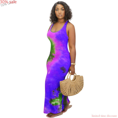 - 30% Sale Purple 4xl Dress Designer Women Fashion Casual O Neck Sleeveless Tie Dye Dress Sexy Woman Party Night Club Dresses