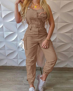 2020 Sexy Solid Spaghetti Strap Jumpsuit Women Strapless Pockets Design Cargo Suspender Overalls Rompers Chic Streetwear