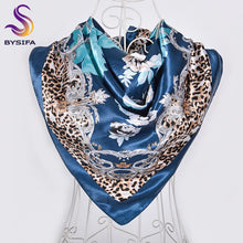 Load image into Gallery viewer, [BYSIFA] New Ink Blue Silk Scarf Shawl Ladies Fashion Sexy Leopard Print Design Floral Large Square Scarves Wraps Muslim Hijabs