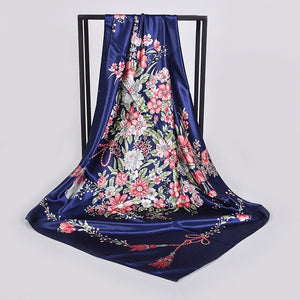 [BYSIFA] New Ink Blue Silk Scarf Shawl Ladies Fashion Sexy Leopard Print Design Floral Large Square Scarves Wraps Muslim Hijabs