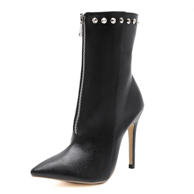 NIUFUNI 2020 New Women's Ankle Boots PU Leather 12cm High Heels Fashion Rivets Zip Black Shoes Woman Pointed Toe Thin Heel Botas