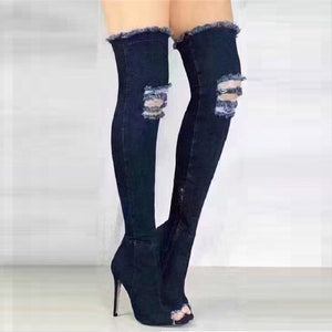 Sexy Boots Women Thigh High Boots Over The Knee High Bottes Peep Toe Pumps Hole Blue Heels Zipper Denim Jeans Shoes Botas Mujer