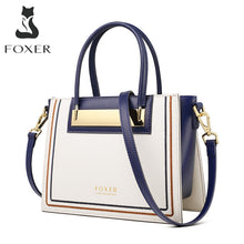 Load image into Gallery viewer, FOXER Cowhide Leather Office Lady Chic Purse Luxury Messenger Bags for Fashion Female High Capacity Women Handbag Elegant Totes
