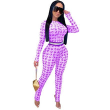 Load image into Gallery viewer, Joskaa mesh crescent moon print O-neck long sleeve zipper waist Mesh Perspective Sexy Nightclub Jumpsuit Pantyhose for women