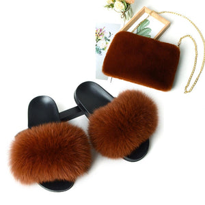 Women's New Plush Fox Fur Slides Square Chain Fake Fur Bags Ladies Furry Briefcase File Purse Female Fox Hair Home Slippers