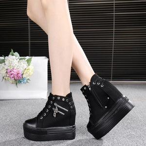 2020 Autumn Women Casual Shoes Denim Ankle Boots Ladies Classic Zipper Height Increasing student Boots Zapatos De Mujer