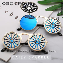 Load image into Gallery viewer, Metal Round Steampunk Sunglasses Women Fashion Glasses Man Windmill Flip Design Frame Funny Vintage Sunglasses High Quality O521