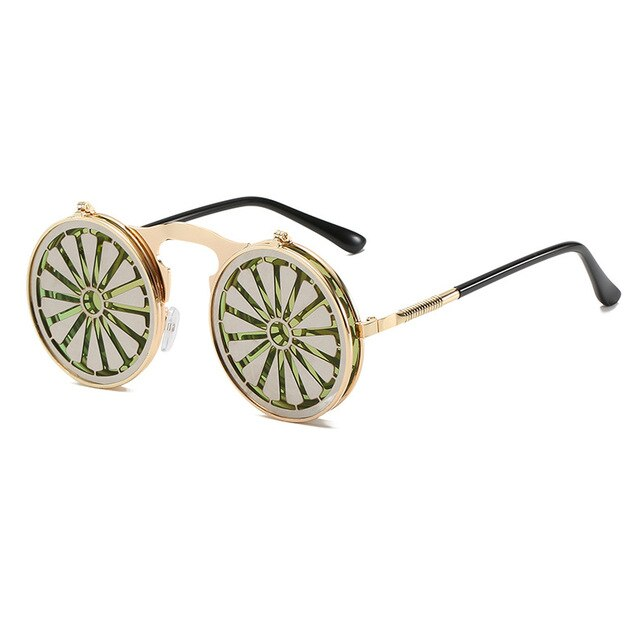 Metal Round Steampunk Sunglasses Women Fashion Glasses Man Windmill Flip Design Frame Funny Vintage Sunglasses High Quality O521