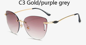 Cat eyes  Sunglasses Women Hollow Fashion No Frame High Quality Rimless Sun Glasses For Women Aaccessories UV Women ins Popular