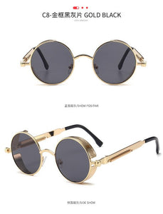Metal Round Gothic Steampunk Sunglasses Men Women Fashion Glasses Brand Designer Retro Frame Vintage Sunglasses High Quality
