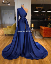 Load image into Gallery viewer, Arabic Navy Blue Celebrity Dresses 2020 One Shoulder Dubai Evening Dresses Women Party Night Formal Red Carpet Dresses Vestidos