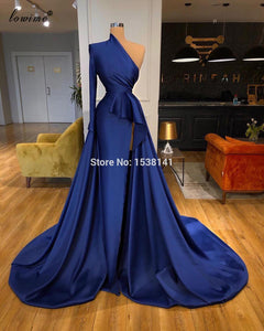 Arabic Navy Blue Celebrity Dresses 2020 One Shoulder Dubai Evening Dresses Women Party Night Formal Red Carpet Dresses Vestidos