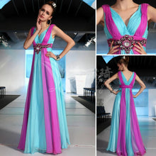 Load image into Gallery viewer, kardashian 2020 blue and purple Banquet bridesmaid bride long design rainbow colorful married evening gown celebrity dresses
