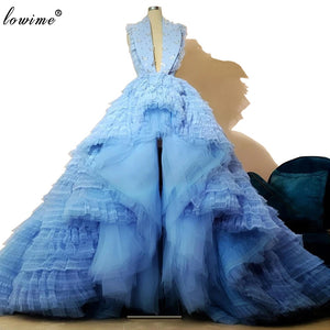 Sky Blue Special Celebrity Dresses 2020 Hi-Lo Woman Runaway Red Carpet Dresses Fashion Couture Rhotography Gowns вечернее платье