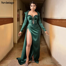 Load image into Gallery viewer, Sevintage Long Sleeve Mermaid Split Side Celebrity Dress Pleats Beaded Red Carpet Dresses AMVCA 2020 Evening Gowns Sweep Train