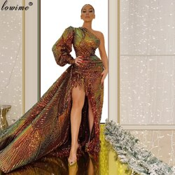 Fashion Design Muslim One Shoulder Celebrity Dresses Dubai Couture Red Carpet Runaway Dresses Party Robe De Soiree Gowns Vestido
