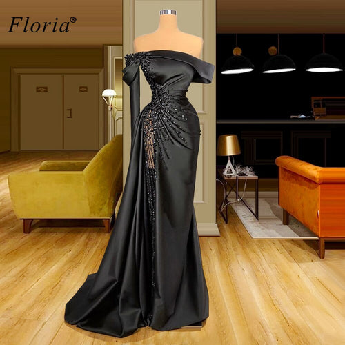 2 Designs Black Mermaid Celebrity Dresses Long Beads Evening Dresses Women Red Carpet Runaway Dresses Party Abiti Da Cerimonia