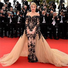 Load image into Gallery viewer, Detachable Celebrity Dresses Mermaid Long Sleeves Tulle Appliques Lace Famous Long Formal Red Carpet Dresses