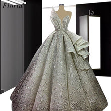 Load image into Gallery viewer, Special Gray Celebrity Dresses 2020 A-Line Strapless Formal Evening Dresses Women Party Night Robe Longue Wedding Party Dress