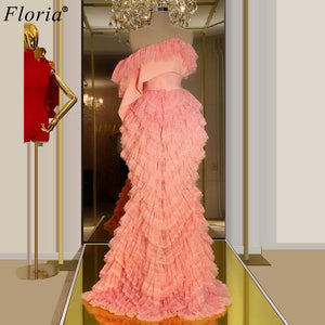 2020 Newest Pink Celebrity Dresses Strapless Special Dubai Runaway Red Carpet Gowns Long Prom Dresses Woman Party NIght Robe
