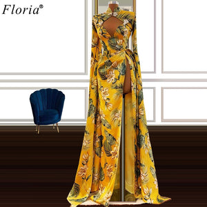 Floral Boho Celebrity Dresses 2020 Long Sleeves Red Carpet Runaway Dresses For Women Haute Couture Opening Ceremony Gowns Custom