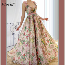 Load image into Gallery viewer, Floral Sexy Celebrity Dresses Long V-Neck Sleeveless Boho Prom Dresses Evening Wear Elegant Photography Gowns Formelle Robes