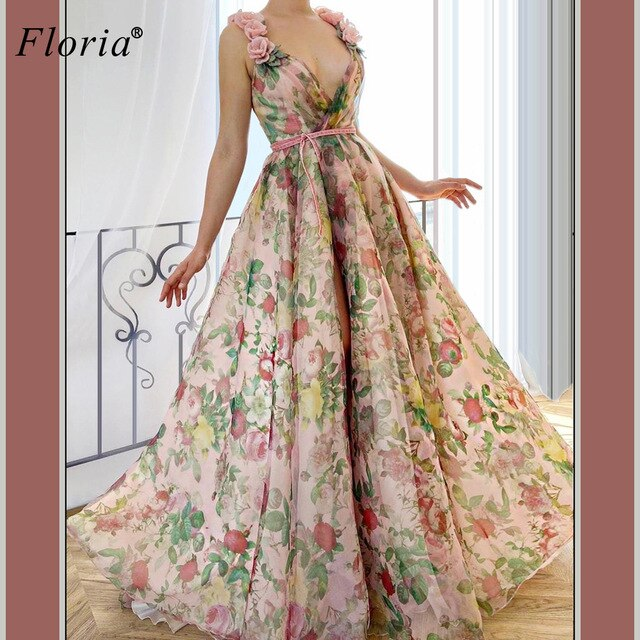 Floral Sexy Celebrity Dresses Long V-Neck Sleeveless Boho Prom Dresses Evening Wear Elegant Photography Gowns Formelle Robes