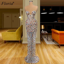 Load image into Gallery viewer, Sexy Pearls Crystals Celebrity Dresses Mermaid Spaghetti Beach Prom Dresses Women Wedding Party Dresses Abiti Da Cerimonia