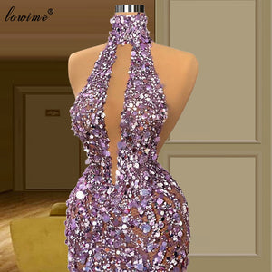 Women Sexy Purple Celebrity Dresses Mermaid Floor Length Sparkly Red Carpet Runaway Dresses Evening Gowns Vestido De Fiesta