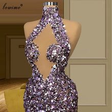 Load image into Gallery viewer, Women Sexy Purple Celebrity Dresses Mermaid Floor Length Sparkly Red Carpet Runaway Dresses Evening Gowns Vestido De Fiesta
