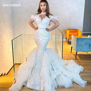 J67032 JANCEMBER Celebrity Dress High Neck Feather Boat Neck Short Sleeve Lace Up Back vestidos de celebridades платье вечернее