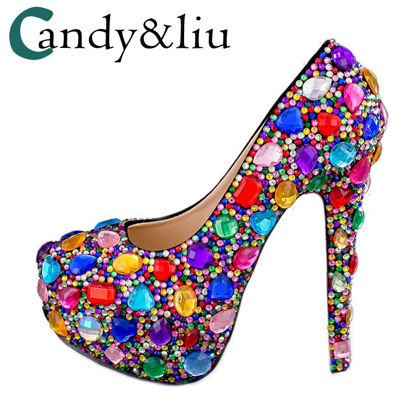 Ladies Pumps Colorful Rhinestone Super Higher Heels 14CM Nightclub Shoes Custom Big Size 43 Gift For Festival Celebrations