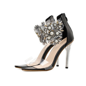 2020 Women Luxurious Pumps Pearl Celebrity Wearing Fashion Style PVC Zipper Sandals High Heels Party Wedding Shoes