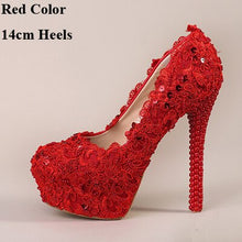 Load image into Gallery viewer, 2018 Red Bridal High Heel Flower Lace Wedding Shoes Prom Shoe Bridesmaid Evening Party Spike Red Pumps Celebrity Stiletto Heels
