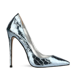 INS hot Women pumps plus size super high heel Sexy Special fabric metallic Stone pattern online celebrity high heels shoes