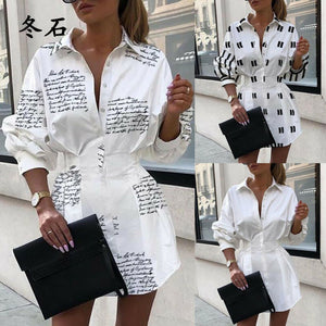 2020 Office Lady Shirt Dress Summer Women White Long Sleeve Casual Loose Dress Tops Mini Dress T-shirt Fashion Woman Clothes 2xl