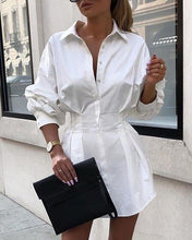 Load image into Gallery viewer, 2020 Office Lady Shirt Dress Summer Women White Long Sleeve Casual Loose Dress Tops Mini Dress T-shirt Fashion Woman Clothes 2xl