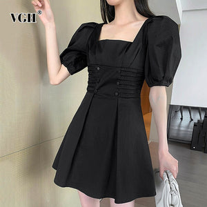 VGH Vintage Women Dress Square Collar Lantern Half Sleeve High Waist Ruched Mini Dresses For Female Fashion 2020 Clothes Tide