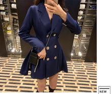 Load image into Gallery viewer, Banulin 2020 New Autumn Styles Fashion Women Clothes Runway Notched Collar Full Sleeves High Waist Double Button Jacket Dress