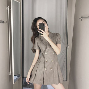 Banulin 2020 New Autumn Styles Fashion Women Clothes Runway Notched Collar Full Sleeves High Waist Double Button Jacket Dress